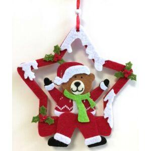 Karácsonyi filc ajtó dekoráció 25cm mackós csillag dekor PIROS Karácsonyi ajtó-ablak dekor dísz