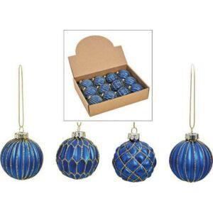 Karácsonyi gömb 6cm kék 20' 4féle mintával üveg kézzel festett exkluzív különleges termék