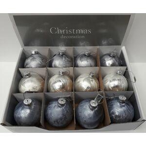 Karácsonyi gömb 8cm üveggömb jégkék/ezüst/fehér vegyesen Karácsonyi dekor jégvirág mintás