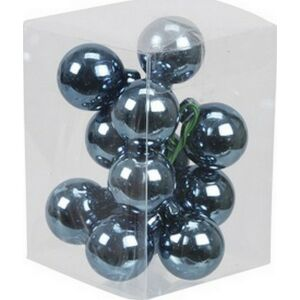 Karácsonyi 2,5cm gömb drótos 2 üveg betűzős kék fényes-matt