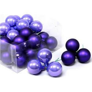 Karácsonyi 4cm gömb drótos 20' üveg betűzős lila fényes-matt