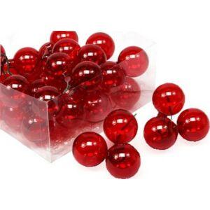Karácsonyi 4cm gömb drótos 20' üveg betűzős piros átlátszó