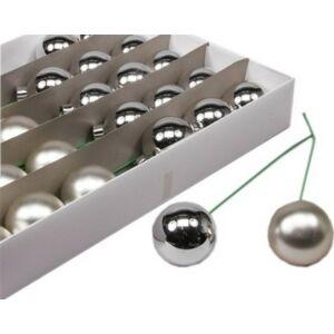 Karácsonyi 5cm gömb drótos 20' üveg betűzős 5cm ezüst fényes-matt