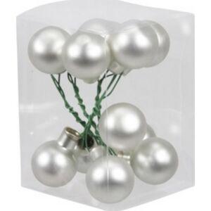 Karácsonyi 2,5cm gömb drótos 2 üveg betűzős ezüst matt