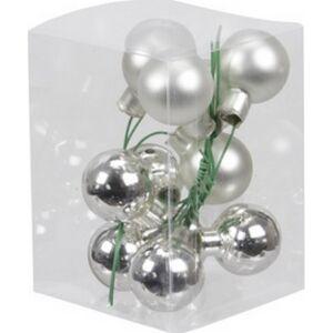 Karácsonyi 2,5cm gömb drótos 2 üveg betűzős ezüst fényes-matt