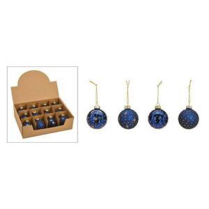 Karácsonyi 6cm gömb kék 20' 6cm 4féle mintával kézzel festett glitteres