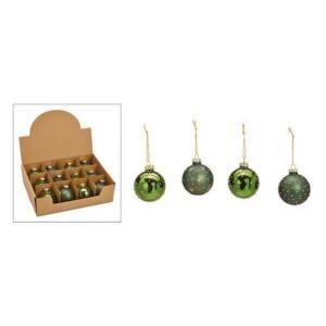 Karácsonyi gömb zöld 20' 6cm 4féle mintával