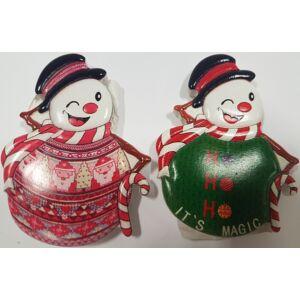 Karácsonyi hűtőmágnes kalapos hóember, vegyes minta 7,5x6cm karácsonyi hűtőmágnes