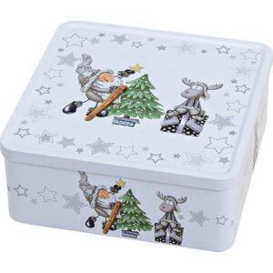 Karácsonyi kekszdoboz 20' fém 19x8x19cm rénszarvasos