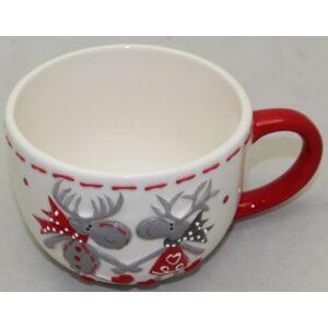 Karácsonyi kerámia szett csésze+alj 250ml, 8x11cm szürke rénis díszítéssel, 1 személyes, díszdobozban