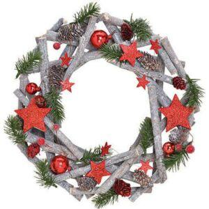 Karácsonyi koszorú 20' 33x8x33 havas ágakkal fa üveg kiegészítő exkluzív termék
