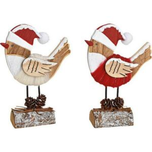 Karácsonyi fa madár figura 20' rönkön kézzel festett 3D 12x14x4cm textil ruhában exkluzív termék