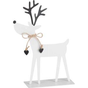 Karácsonyi rénszarvas figura S fehér-feketeglitteres 21cm fém Réni Dekoráció-ajándéktárgy Rénszarvasos