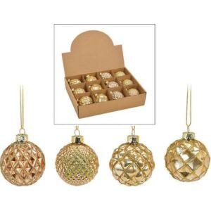 Karácsonyi 5cm dísz antik 20' szív-csillag arany pezsgő 6x6x6cm kézzel festett nehéz üvegből