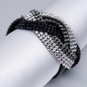 Swarovski karkötő fonott fehér-szürke-fekete kristályos MADE WITH ELEMENTS TOUCH