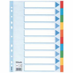 Karton elválasztó 1-10 STANDARD karton 10 részes A4 Esselte 10db rendelési egység ár 1db-ra