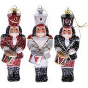 Karácsonyi katona akasztós 5, 8x5,5x15cm piros/fehér/zöld műanyag glitterdekorral dekor trend 2018