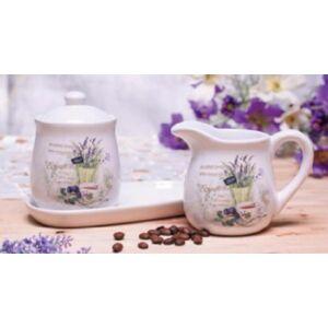 Kávé szett porcelán Levendula cukortartó+tejszínkiöntő levendula dekor [5999045477784]