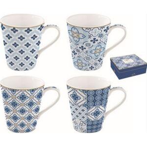 Kávés bögre porcelán készlet 4db-os, 260ml-es, Coffe Mania Tiles Blue