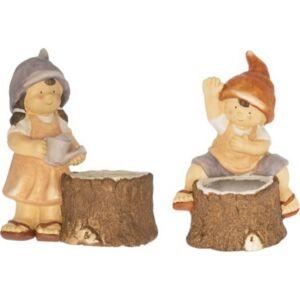 Kerámia figura kaspóval Fiú-lány manósapkában, farönkkel