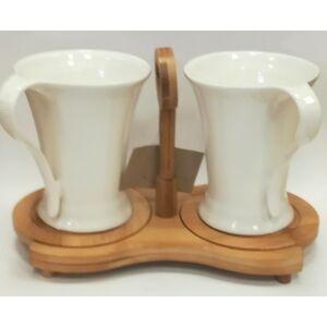 Kerámia kávés csésze szett 2 személyes + tartó faállvány