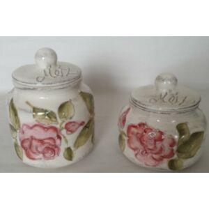 Kerámia méztartó virágos bordó rózsás - kézzel festett domború mintás