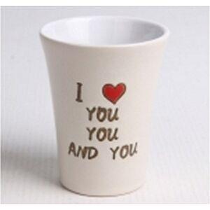 Kerámia Pohár 115ml ívelt I Love You feliratos szíves krém színű 172232