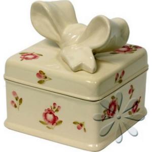 Kerámia Szögletes doboz Violin rózsás, kézzel festett