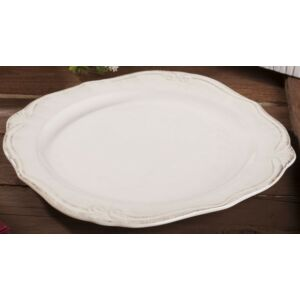Kerámia tányér antikolt 27cm krém színű liliom mintás porcelán