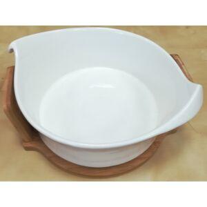 Kerámia Levesestál porcelán, fa tartón
