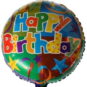 Lufi fólia 45cm gömb, Happy Birthday, csillagos