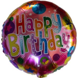 Lufi fólia 45cm gömb, Happy Birthday, színes pöttyös