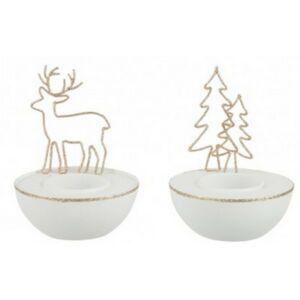 Asztali mécsestartó karácsonyi arany fenyő-rénszarvas mintás üveg mécsestartóval dekor S
