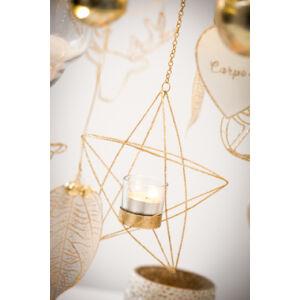 Akasztós mécsestartó karácsony arany színű glitteres fém csillag 1db mécsestartó pohárral