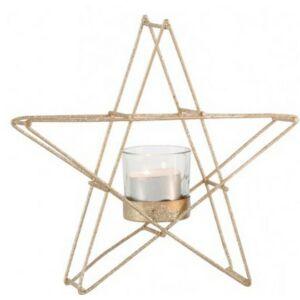 Akasztós mécsestartó karácsony ezüst színű glitteres fém csillag 1db mécsestartó pohárral