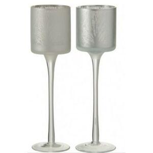 Mécsestartó kehely talpas S karácsonyi mintás üveg dekor fehér-ezüst színű metalizált