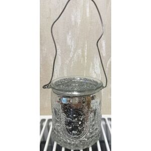 Mécsestartó üveg 6,5cm foncsor üveg arany, ezüst
