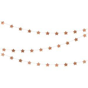 Party dekorfüzér Rosegold csillagos 360cm