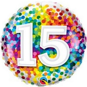 """Party lufi Szülinapi 18""""-46cm Happy Birthday 15-ös Rainbow Confetti Fólia Léggömb+hélium"""