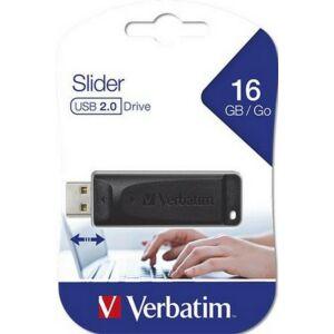 Pendrive 16GB Verbatim Slider USB 2.0 10 MB/sec -4 MB/sec feket Verbatim 98696