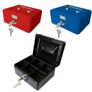 PénzKazetta Office Art 15, 2x11,5x8cm kulcsos piros, kék, fekete