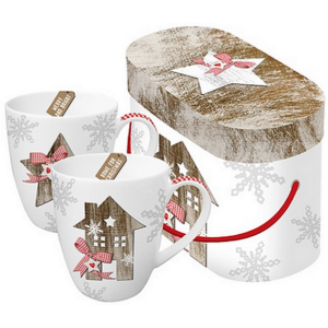 Porcelán bögre 0,35l díszdobo 2db-os karácsonyi mintás Country X-mas2 porcelán