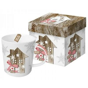 Porcelán bögre 0,35l díszdobo Bögre teás, karácsonyi mintás Country Xmas Home porcelán