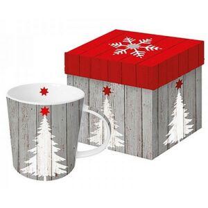 Porcelán bögre 0,35l díszdobo Bögre teás, karácsonyi mintás Tree on Wood porcelán