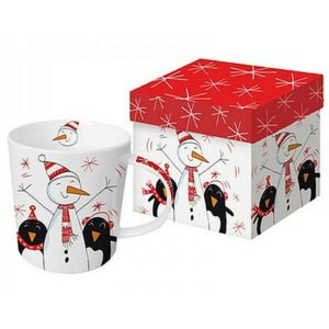Porcelán bögre 0,35l díszdobo Bögre teás, karácsonyi mintás Singing Pinguis porcelán