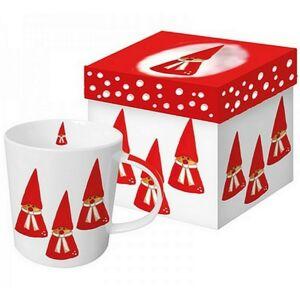 Porcelán bögre 0,35l díszdobo Bögre teás, karácsonyi mintás Anneko's Gnomes porcelán