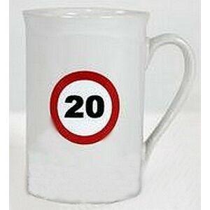 Porcelán bögre 20-as Sebességkorlátozó Szülinapi