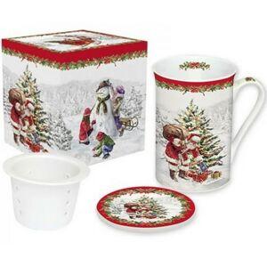 Porcelán bögre 250ml díszdoboz Bögre teás+szűrő, karácsonyi mintás Christmas Tree porcelán