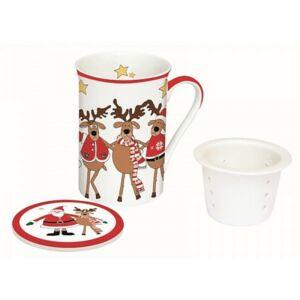 Porcelán bögre 250ml díszdoboz Bögre teás+szűrő, karácsonyi mintás Santa