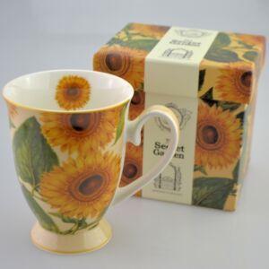 Porcelán bögre 300ml-es Napraforgó mintás bögre 8,5x10,5cm-es díszdobozos finom porcelán